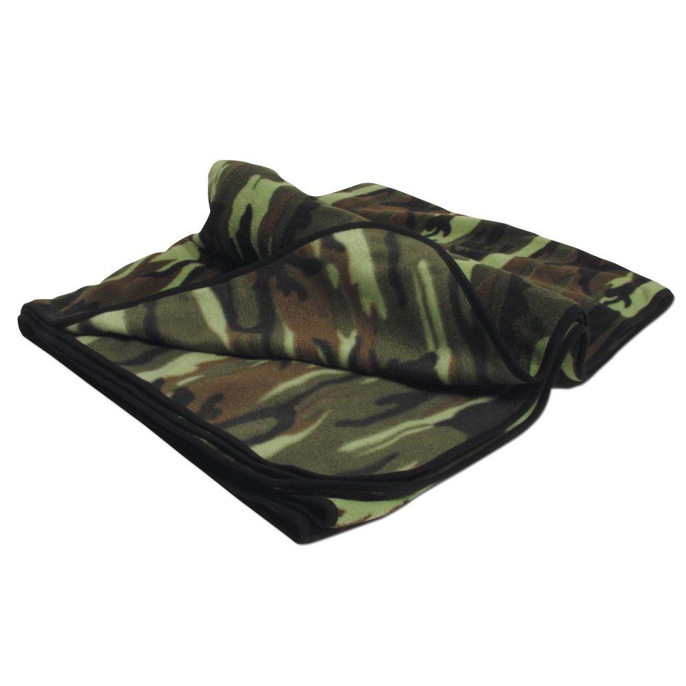 Outdoor Decke Campingdecke US Army Style Fleecedecke BW Oliv Camo Schwarz Tarn